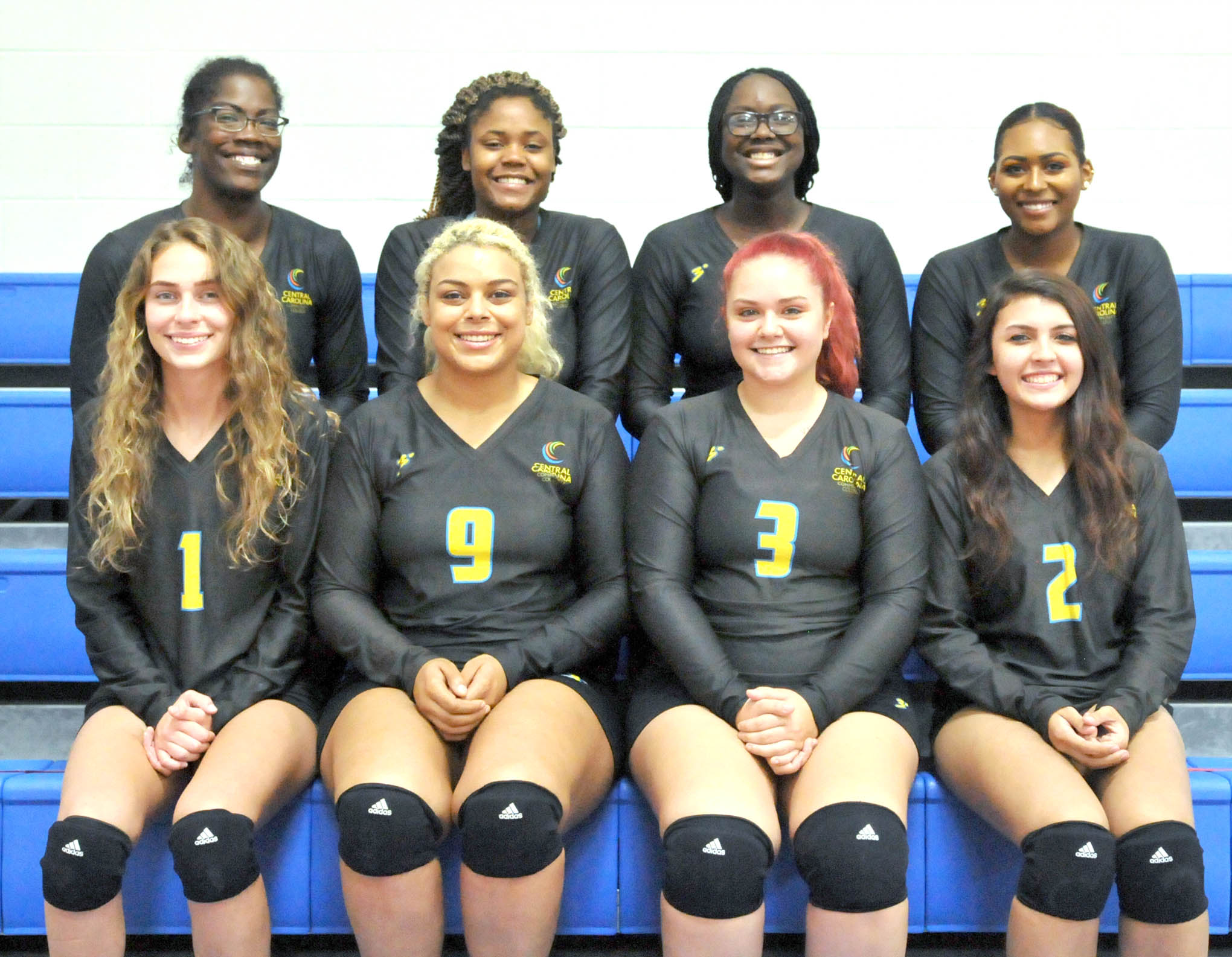 Click to enlarge,  Members of the Central Carolina Community College 2018 volleyball team are pictured, left to right: first row, Taylor Raines, Cheira Squalls, Kylie Javens, and Abigail Sean; second row, Carrie Johnson, Khalicia Lee, Daylene Thompson, and Naia Mellette.