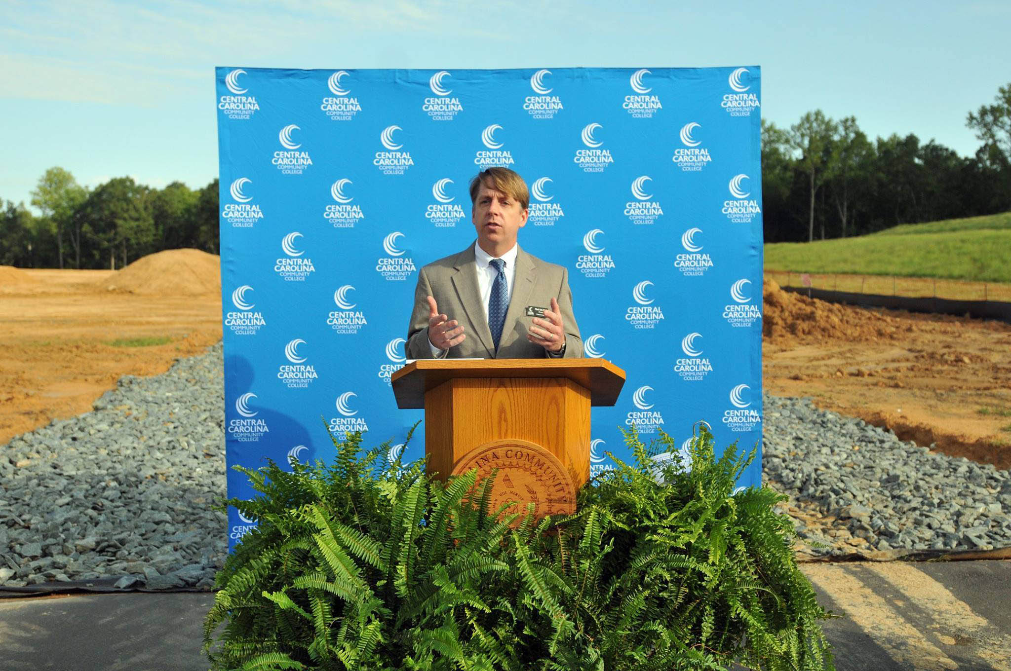 Click to enlarge,  Dr. Mark Hall, Central Carolina Community College Chatham Provost, spoke at the college's Aug. 22 groundbreaking ceremony for the new Chatham Health Sciences Center.