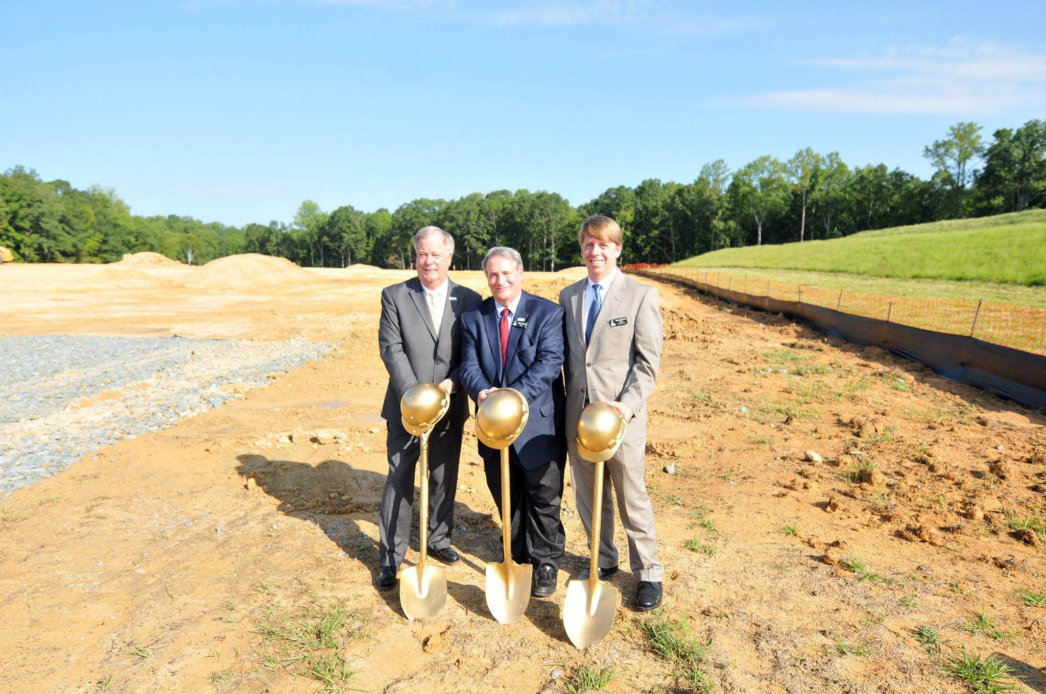 Click to enlarge,  CCCC President Dr. T. Eston Marchant, CCCC Board of Trustees Chairman Julian Philpott, and CCCC Chatham Provost Dr. Mark Hall participate in the Aug. 22 groundbreaking ceremony for the new CCCC Chatham Health Sciences Center.