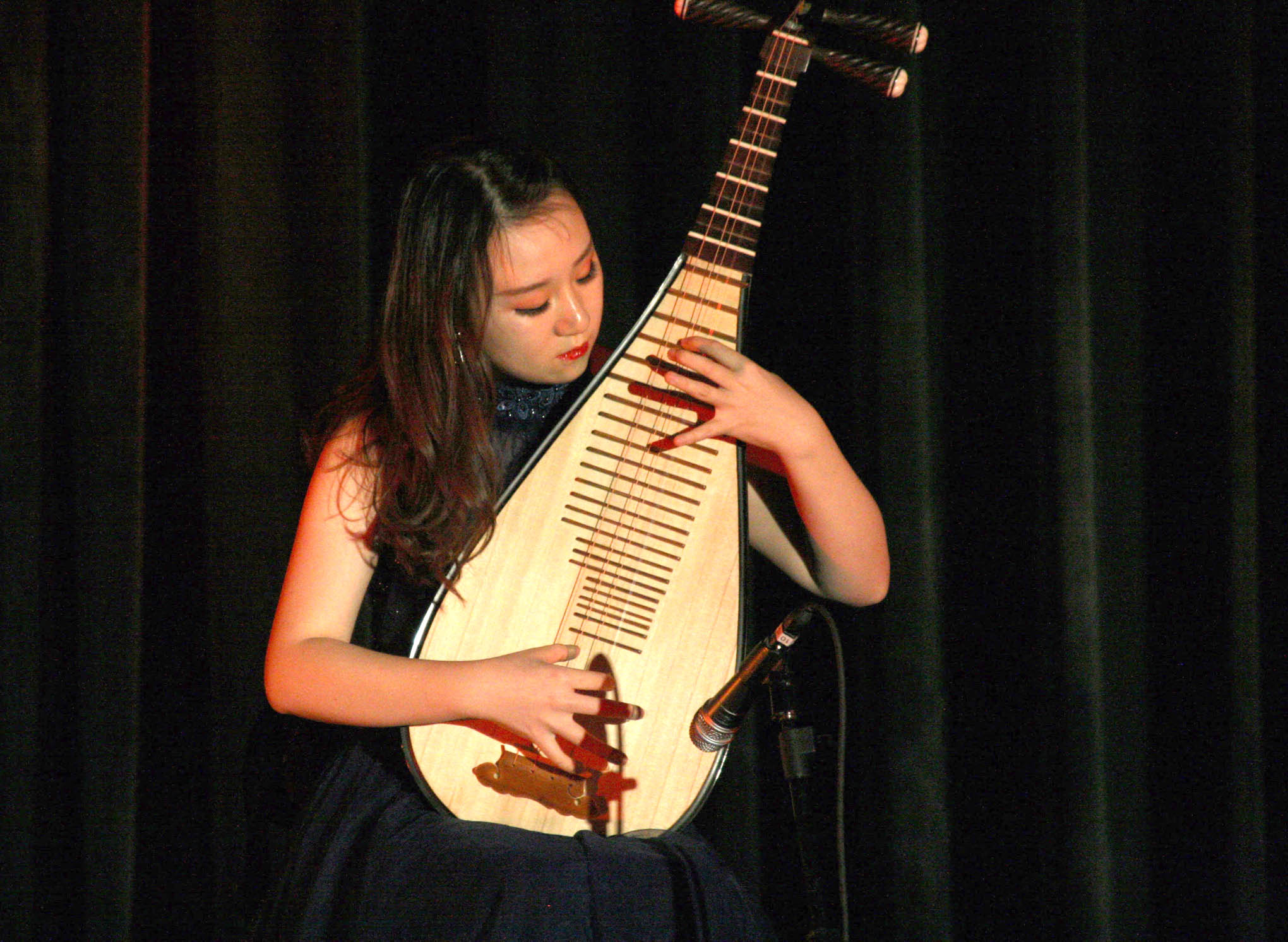 Click to enlarge,  Among the musical performances during the celebration of Chinese culture and arts at Central Carolina Community College was a solo on pipa, a popular, four-stringed instrument played in China for more than 2,000 years.