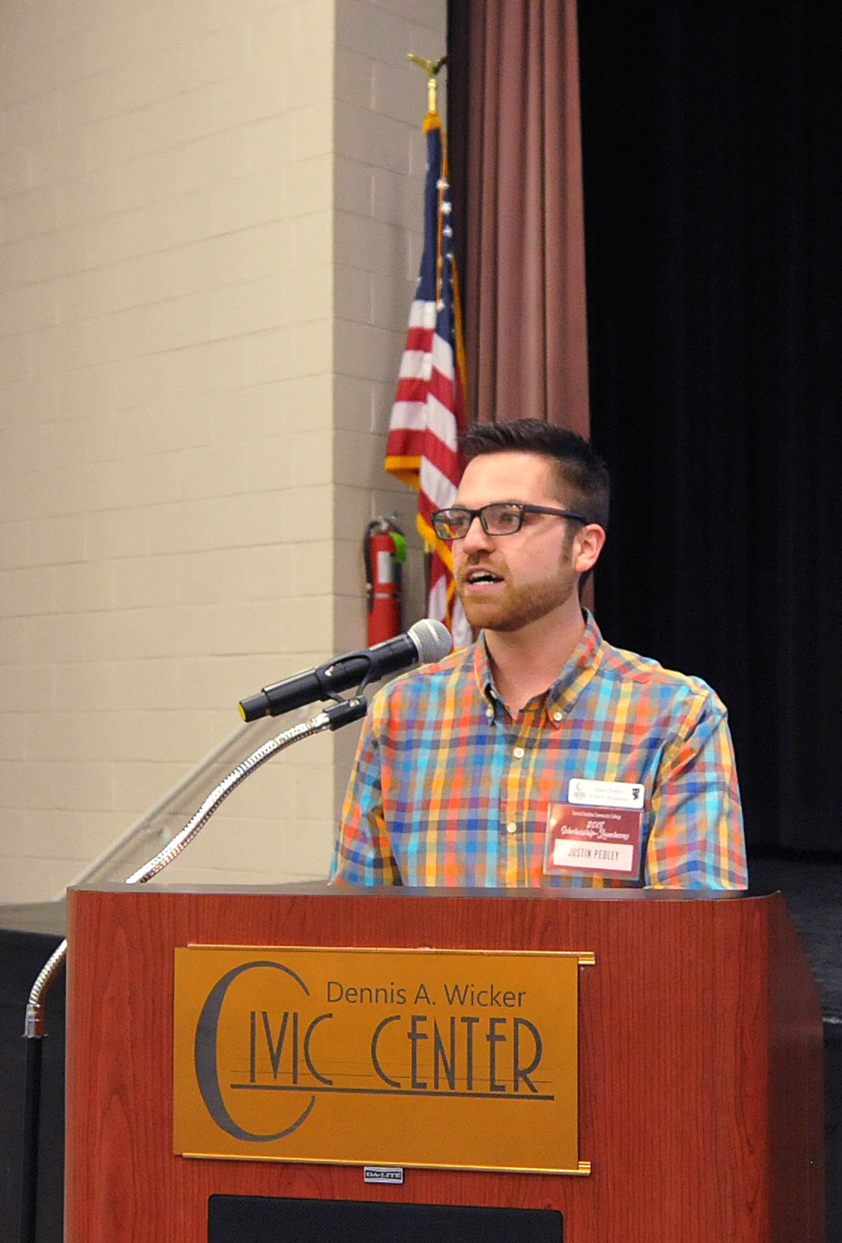 Click to enlarge,  Justin Pedley, a Veterinary Medical Technology student, was the student speaker at the Central Carolina Community College Foundation Scholarship Luncheon on Wednesday, Nov. 14, at the Dennis A. Wicker Civic & Conference Center.
