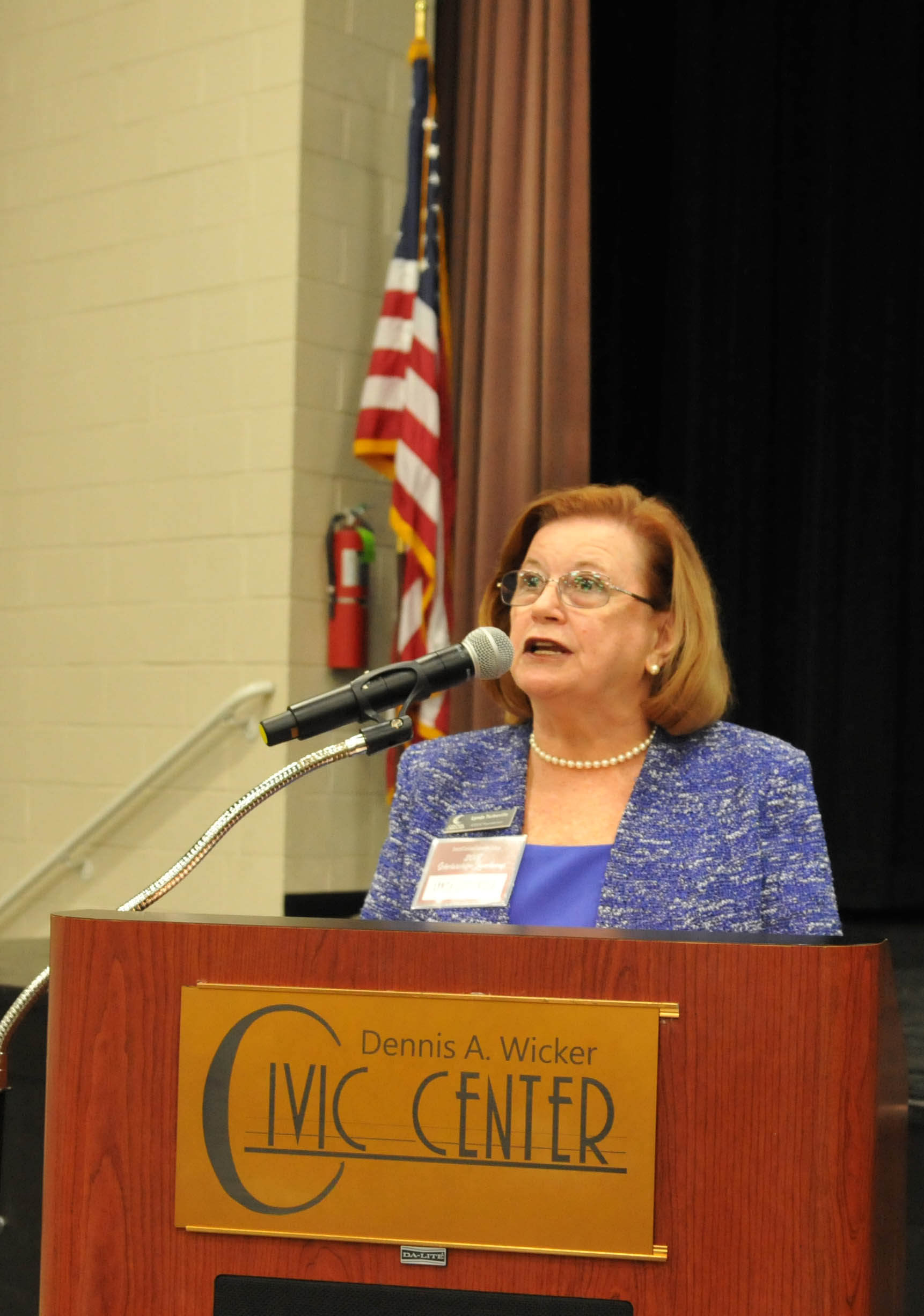 Click to enlarge,  Lynda Turbeville, CCCC Foundation Vice President, Resource Development, provided welcoming remarks during the Central Carolina Community College Foundation Scholarship Luncheon on Wednesday, Nov. 14, at the Dennis A. Wicker Civic & Conference Center.