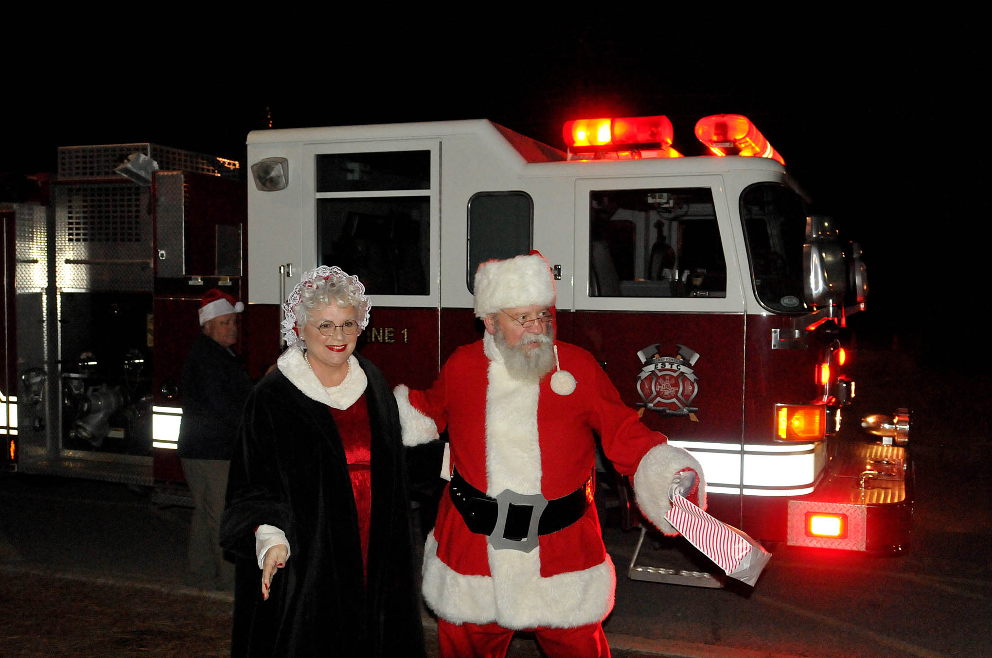 Click to enlarge,  Mr. and Mrs. Santa Claus were among those in attendance at the CCCC Foundation Christmas Tree Lighting celebration.