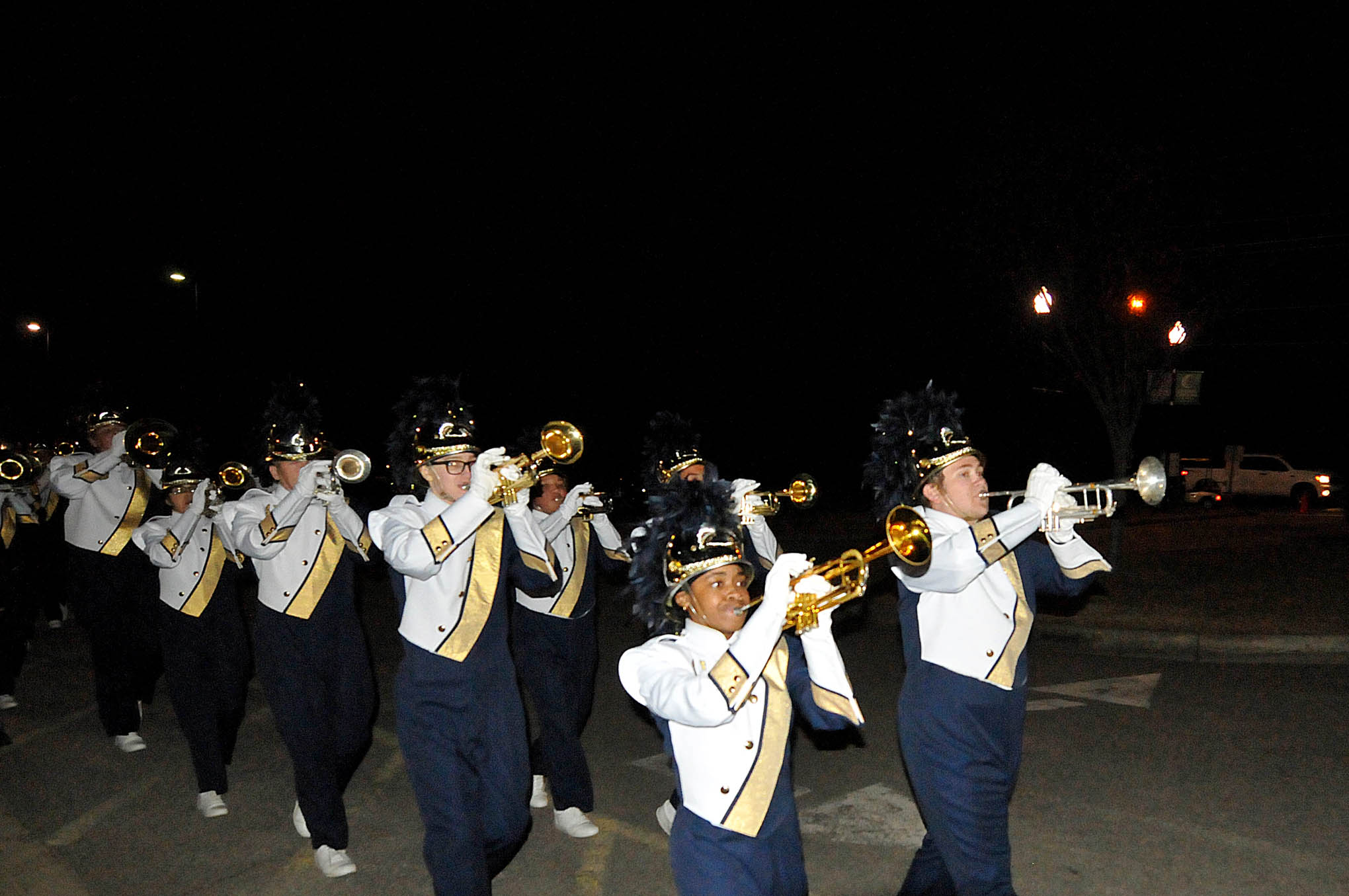 Click to enlarge,  The Lee County High School Marching Band participated in the CCCC Foundation Christmas Tree Lighting celebration.