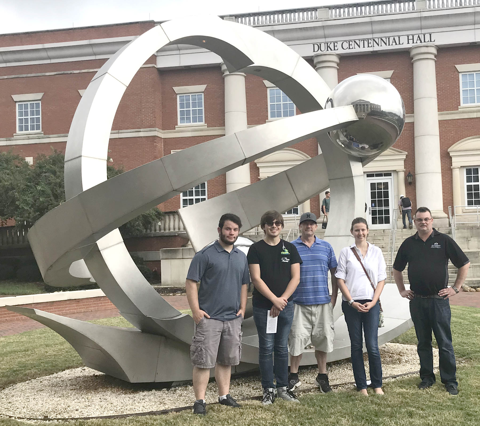 Click to enlarge,  Touring the Optics Research Center on the University of North Carolina at Charlotte's campus were, left to right: Cameron Wiedholz, Jamie Turner, Robert Strickland, Isabelle Karis, and Scott Williams (Assistant Director of the Center, who is an advisor to the CCCC LPT program).