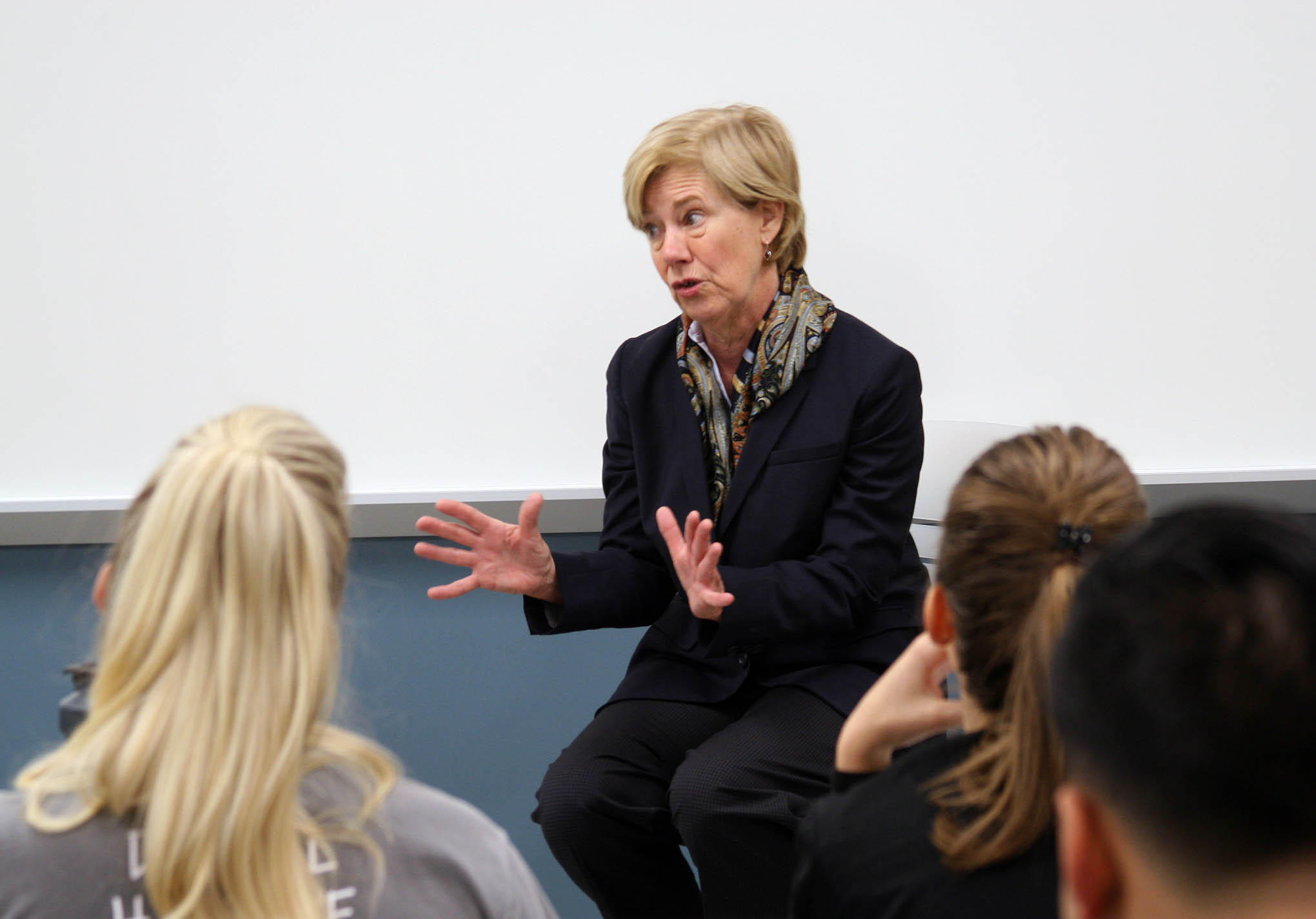 "Click to enlarge,  Mary Otto, who serves as the oral health topic leader for the Association of Health Care Journalists and is author of ""Teeth: The Story of Beauty, Inequality, and the Struggle for Oral Health in America,"" speaks with Community Dental Health class students at Central Carolina Community College."