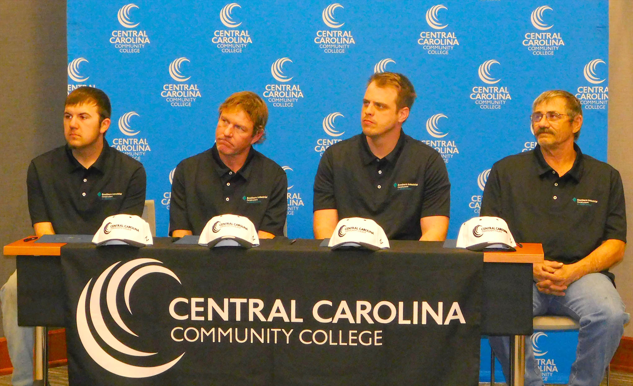 Click to enlarge,  Central Carolina Community College has joined with Southern Industrial Constructors and 3M to begin the new Southern Industrial Apprenticeship Program. The new apprentices are pictured, left to right: Mason Hege, Daniel Mize, Clifton Banner, and Garry Krontz.