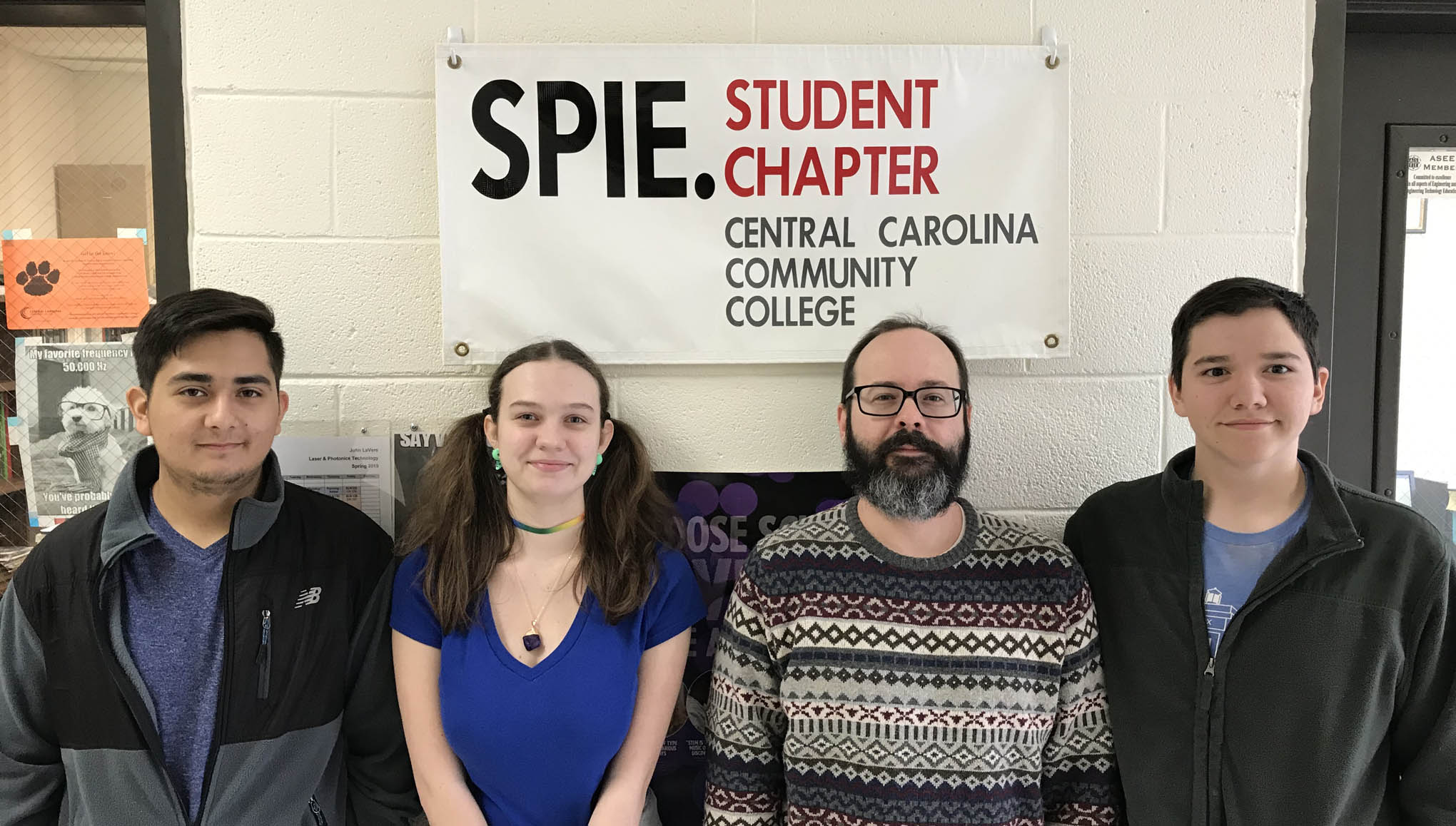 "Click to enlarge,  The Central Carolina Community College SPIE Student Chapter will host an ""Interviewing Skills Panel"" on Monday, March 18, in the Miriello Building (Multi-Purpose Room 135) at the CCCC Harnett Main Campus, 1075 E. Cornelius Harnett Blvd., Lillington. Pictured here are CCCC SPIE Student Chapter officers (left to right) Angel Gonzalez (Vice President), Skylar Overby (President), John Brooks (Treasurer), and Michael Murray (Secretary)."