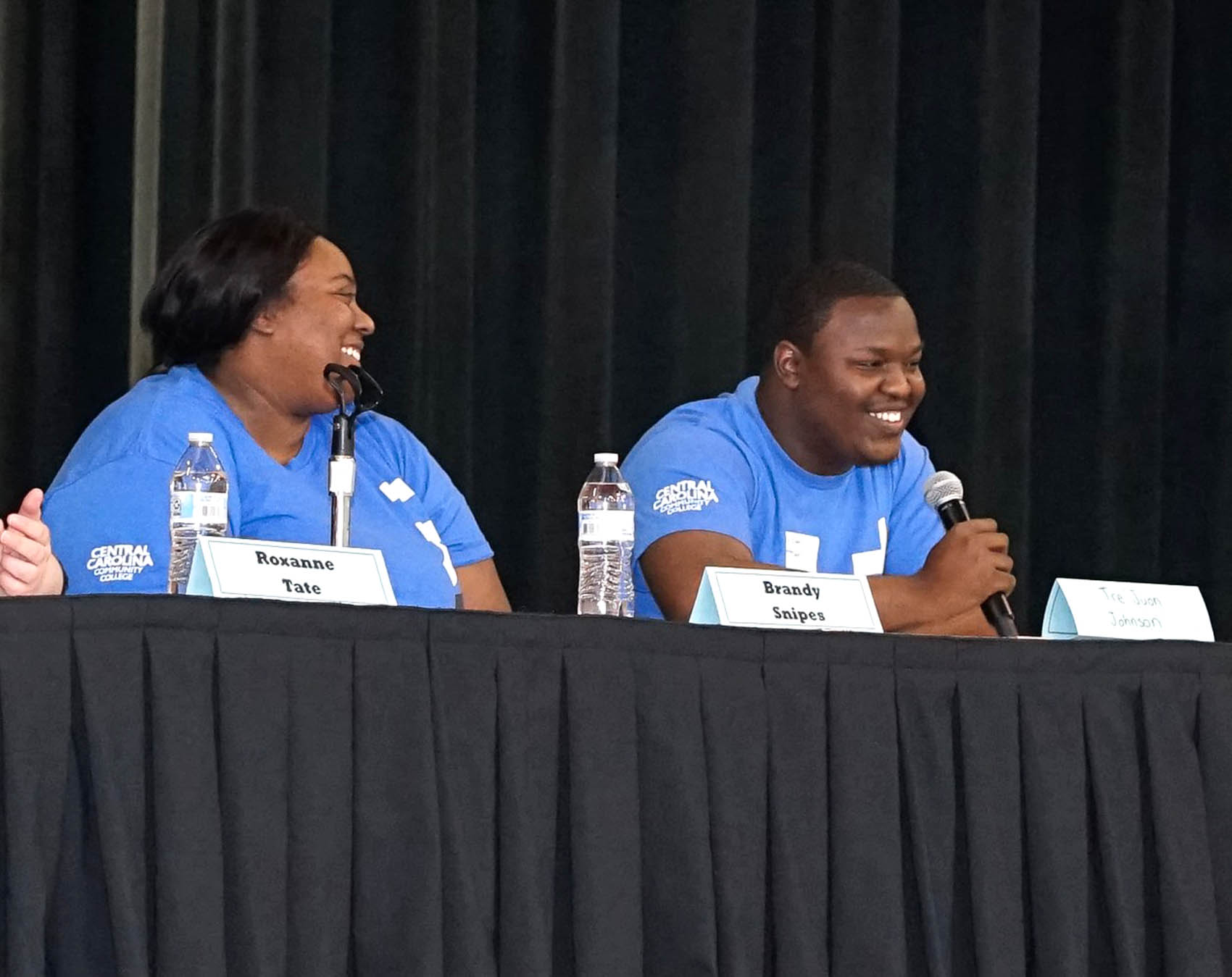 Click to enlarge,  Brandy Snipes and Tre' Juon Johnson from Central Carolina Community College participated in a student panel at the annual NC TRiO Student Initiatives Conference on March 2 at the Dennis A. Wicker Civic & Conference Center in Sanford.