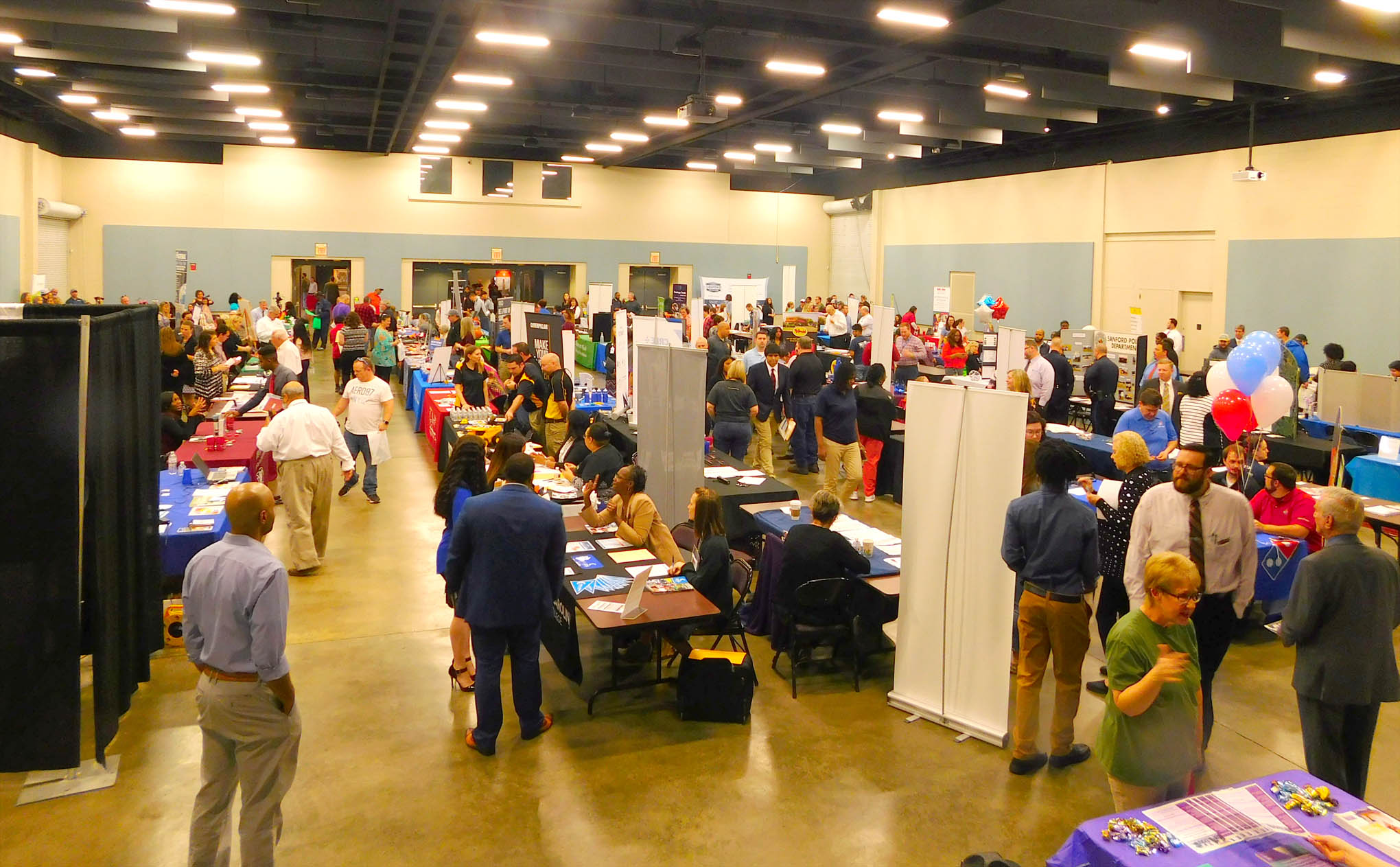 Click to enlarge,  Approximately 125 exhibitors were present for the Central Carolina Community College Annual Career Fair 2019. For more information on the CCCC Career Center, people can contact the Career Center at 919-718-7396 or visit the CCCC website at www.cccc.edu/careercenter.