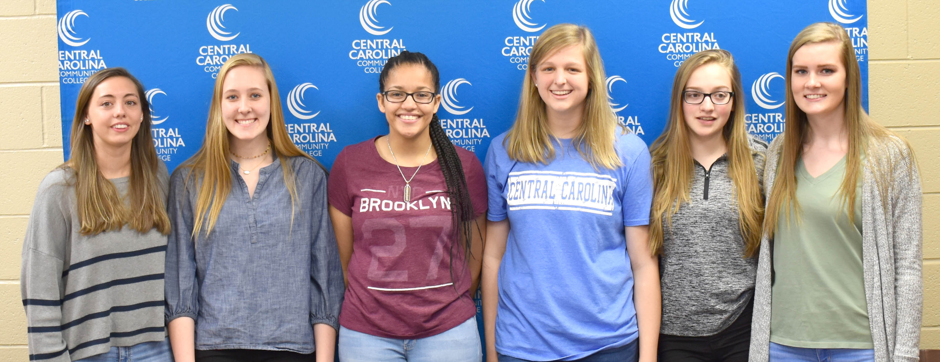 Click to enlarge,  Among the newest additions to the Central Carolina Community College volleyball program are, pictured left to right: Kyra Harrison, Grace McAllister, Jolanni Gadist, Taylor Rosser, Kristen Fletcher, and Jenni Dalrymple.