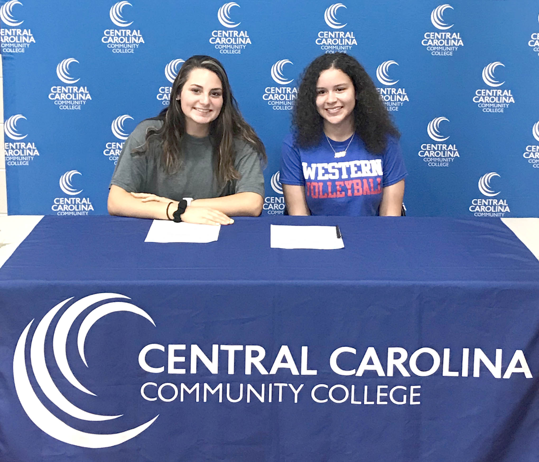 Click to enlarge,  Breanna Self (left) and Aliyah Matthews (right) are among the newest additions to the Central Carolina Community College volleyball program.