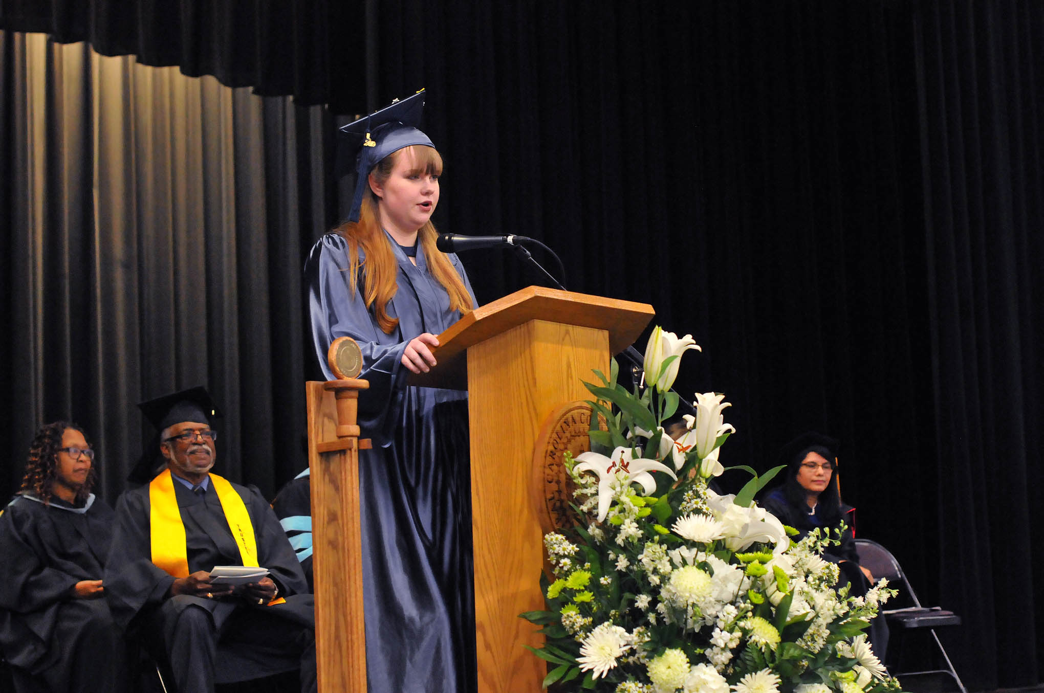 Click to enlarge,  Ashli Overby was the commencement student speaker at Central Carolina Community College's College and Career Readiness Commencement Exercises on May 14.