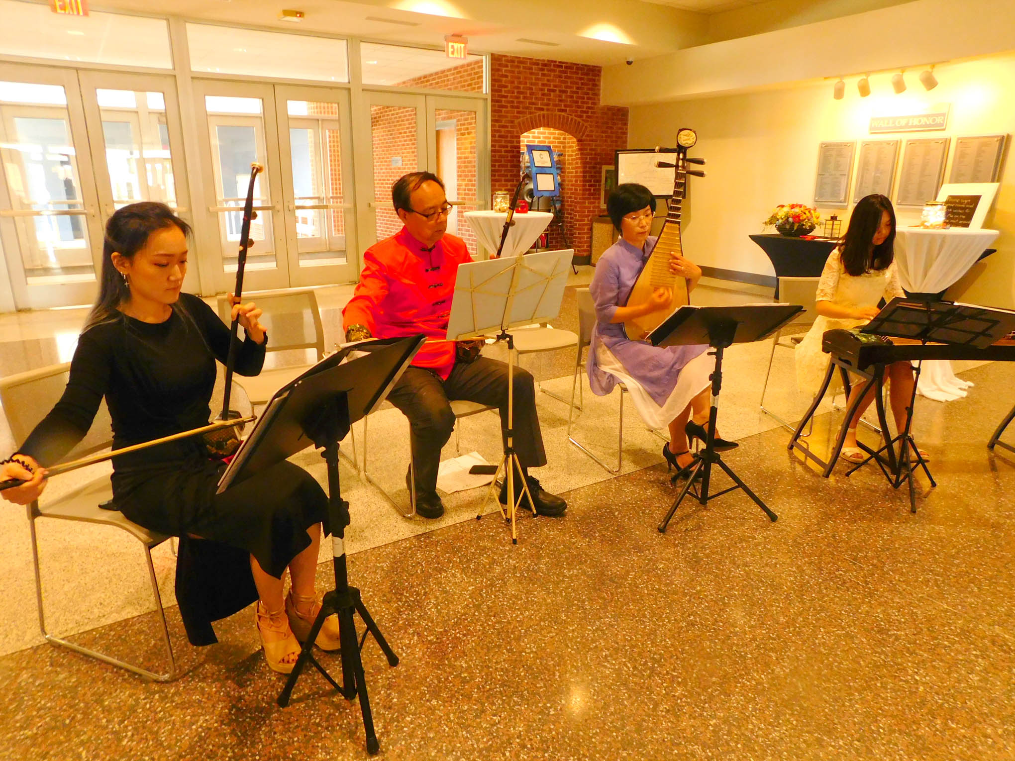 Click to enlarge,  The Crescent Chinese Music Studio provided music when Central Carolina Community College hosted a Ninth Anniversary and farewell honoring Yuehan Ma and the CCCC Confucius Classroom.