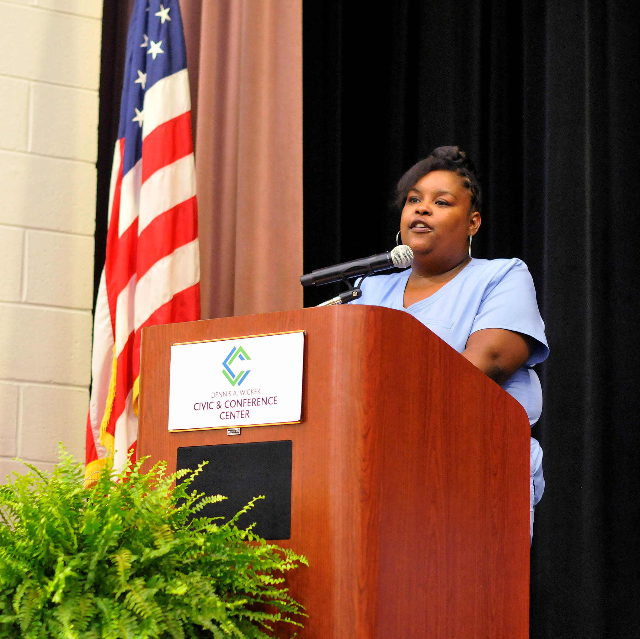 Click to enlarge,  April Brown was one of the student speakers at the Central Carolina Community College Continuing Education Medical Programs graduation. The event was held June 13 at the Dennis A. Wicker Civic & Conference Center in Sanford.