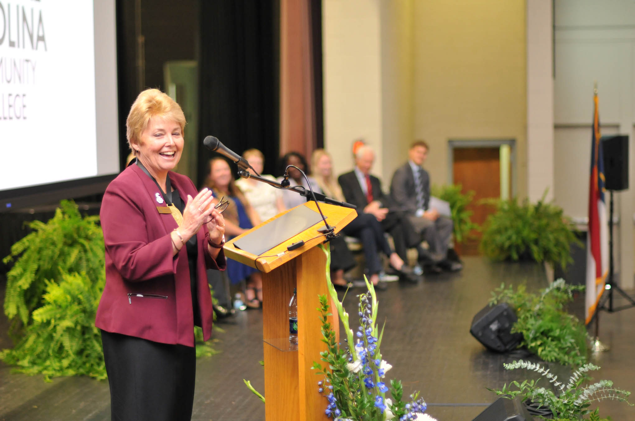 Click to enlarge,  Central Carolina Community College President Dr. Lisa M. Chapman shares a smile during her Installation as CCCC President on Sept. 26.