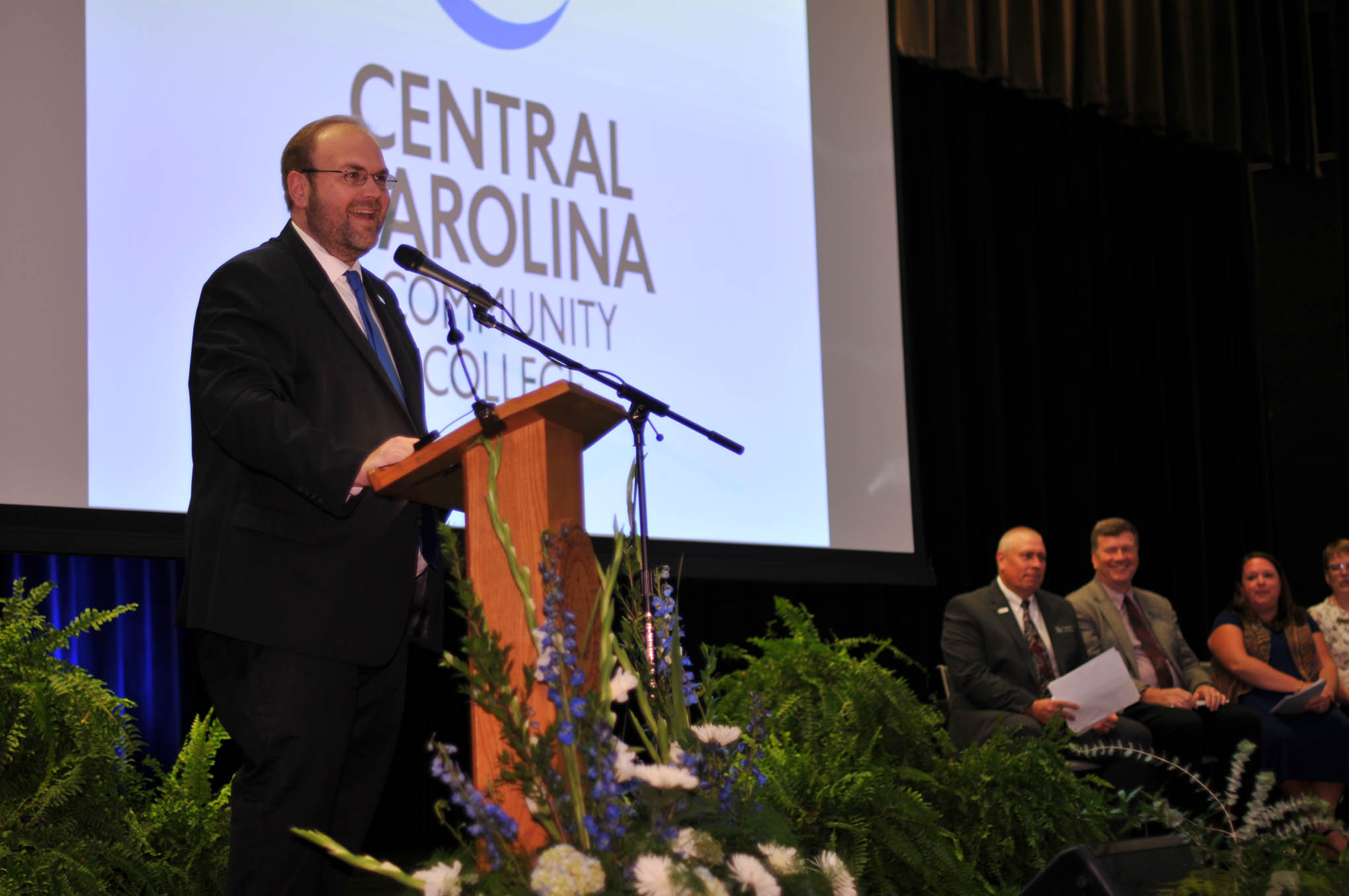 Click to enlarge,  Dr. Brian S. Merritt, CCCC Vice President, Learning & Workforce Development / Chief Academic Officer, presented The Central Carolina Commitment address during the Convocation and Installation of Dr. Lisa M. Chapman as Sixth President of CCCC on Sept. 26.