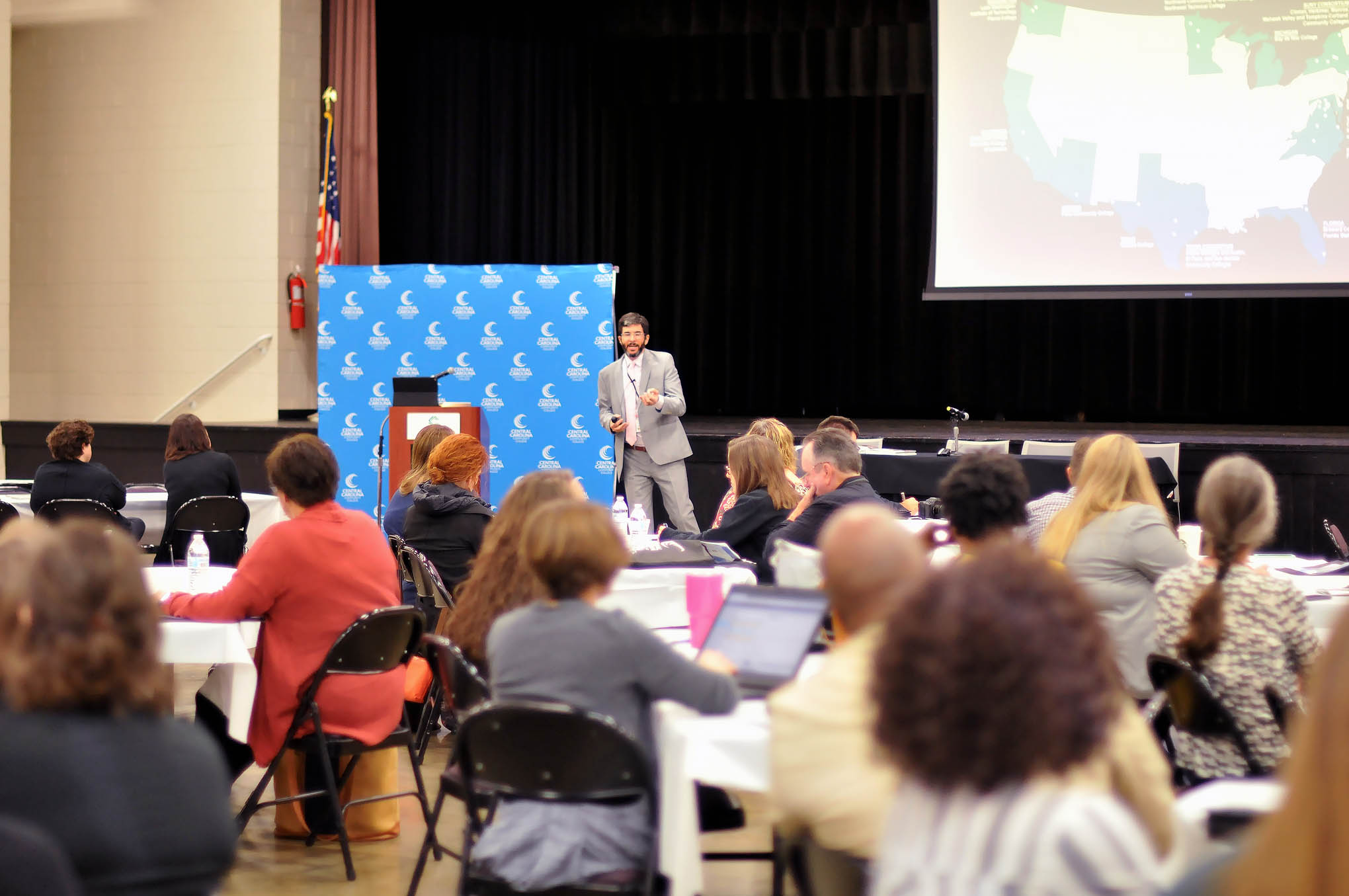 Click to enlarge,  About 170 academic leaders attended the Open Educational Resources Conference on Oct. 7 at the Dennis A. Wicker Civic & Conference Center in Sanford, N.C.