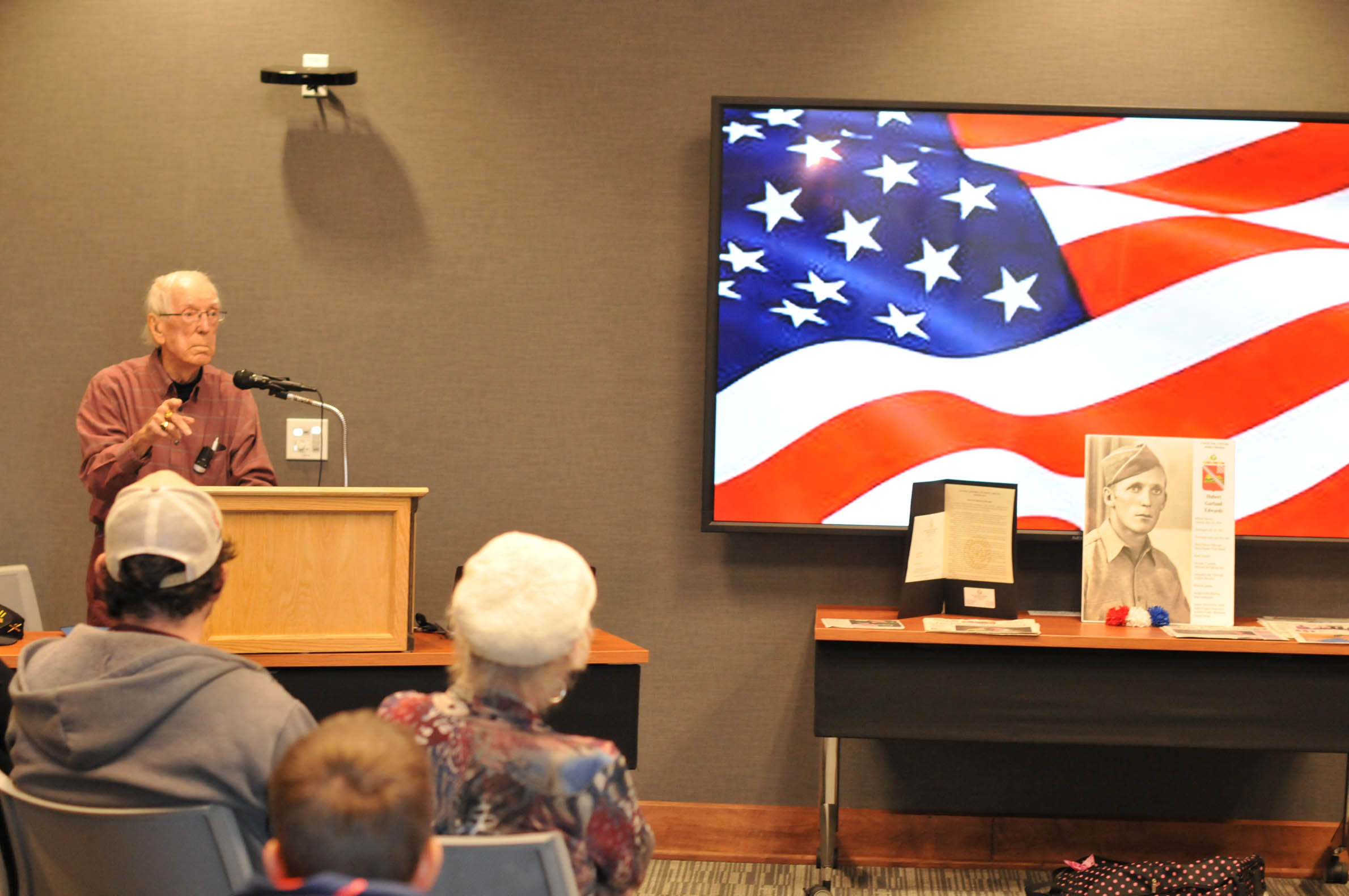 Click to enlarge,  Hubert Garland Edwards shared his memories of World War II during a recent program at Central Carolina Community College sponsored by the CCCC Student Ambassadors