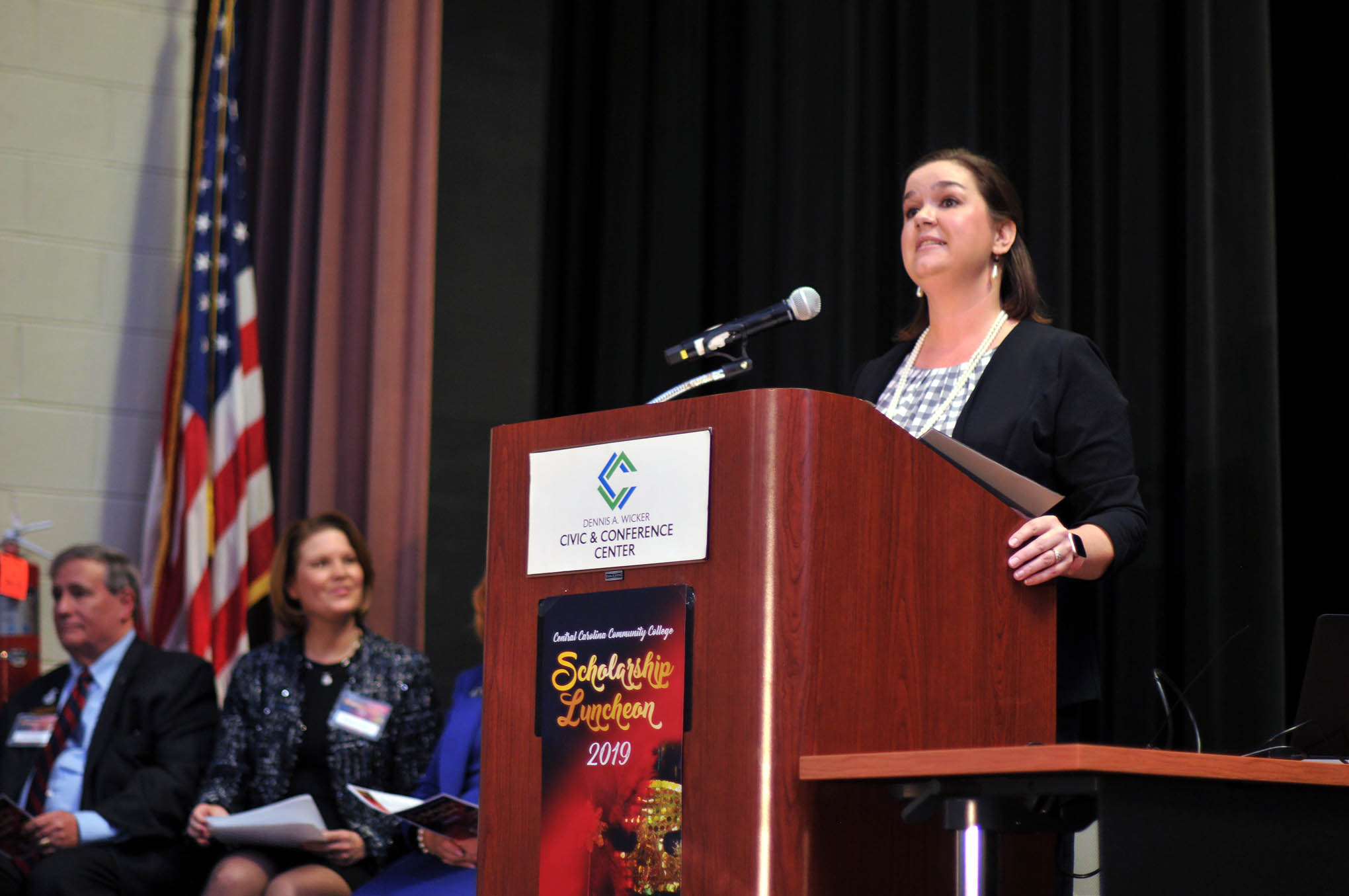 Click to enlarge,  Dr. Emily Hare, CCCC Foundation Executive Director, provided welcoming remarks during the Central Carolina Community College Foundation Scholarship Luncheon on Wednesday, Nov. 20, at the Dennis A. Wicker Civic & Conference Center.