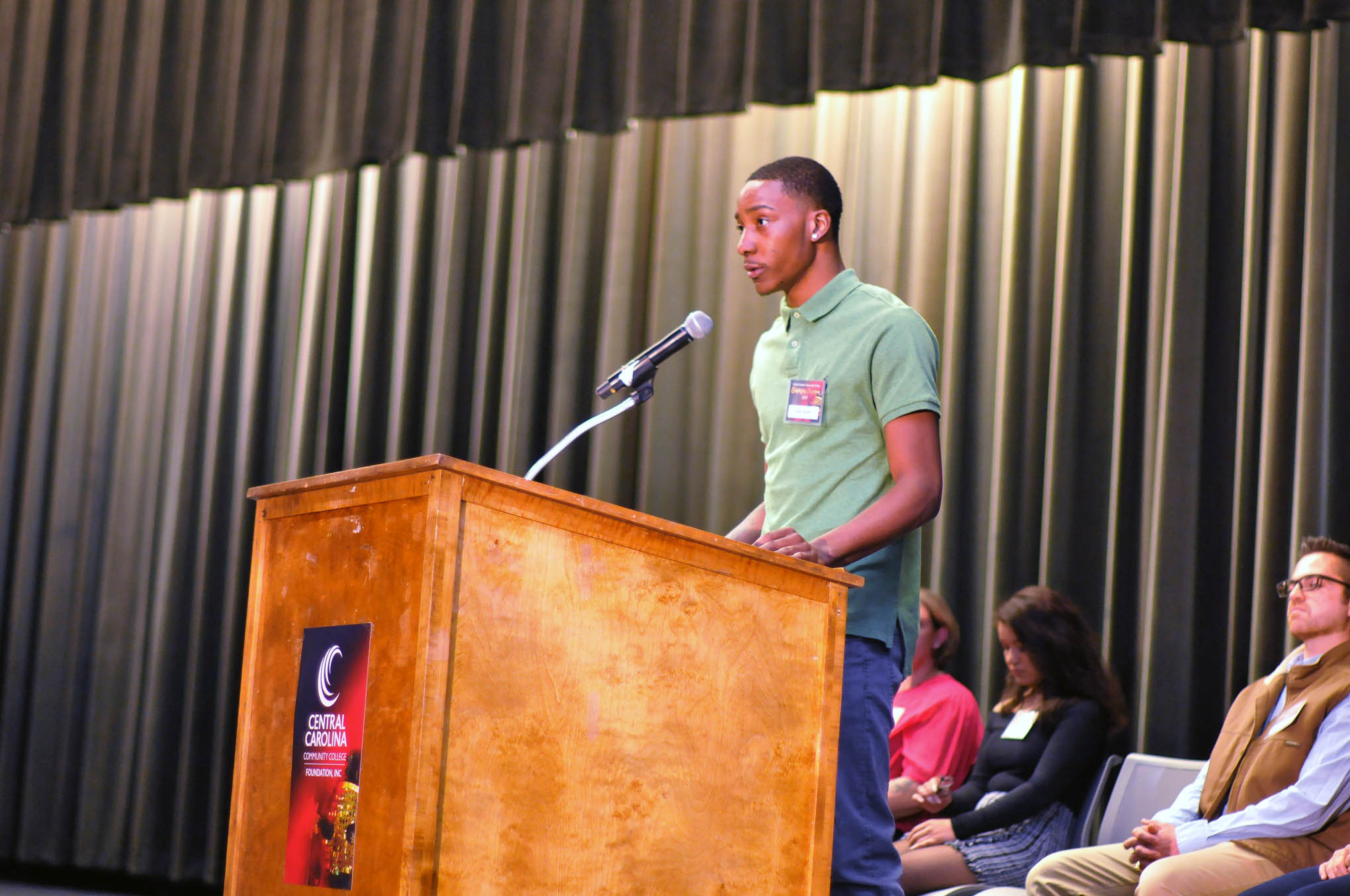 Click to enlarge,  Jamar Butler was among the scholarship recipient speakers at the Central Carolina Community College Foundation Scholarship Luncheon on Wednesday, Nov. 20, at the Dennis A. Wicker Civic & Conference Center.