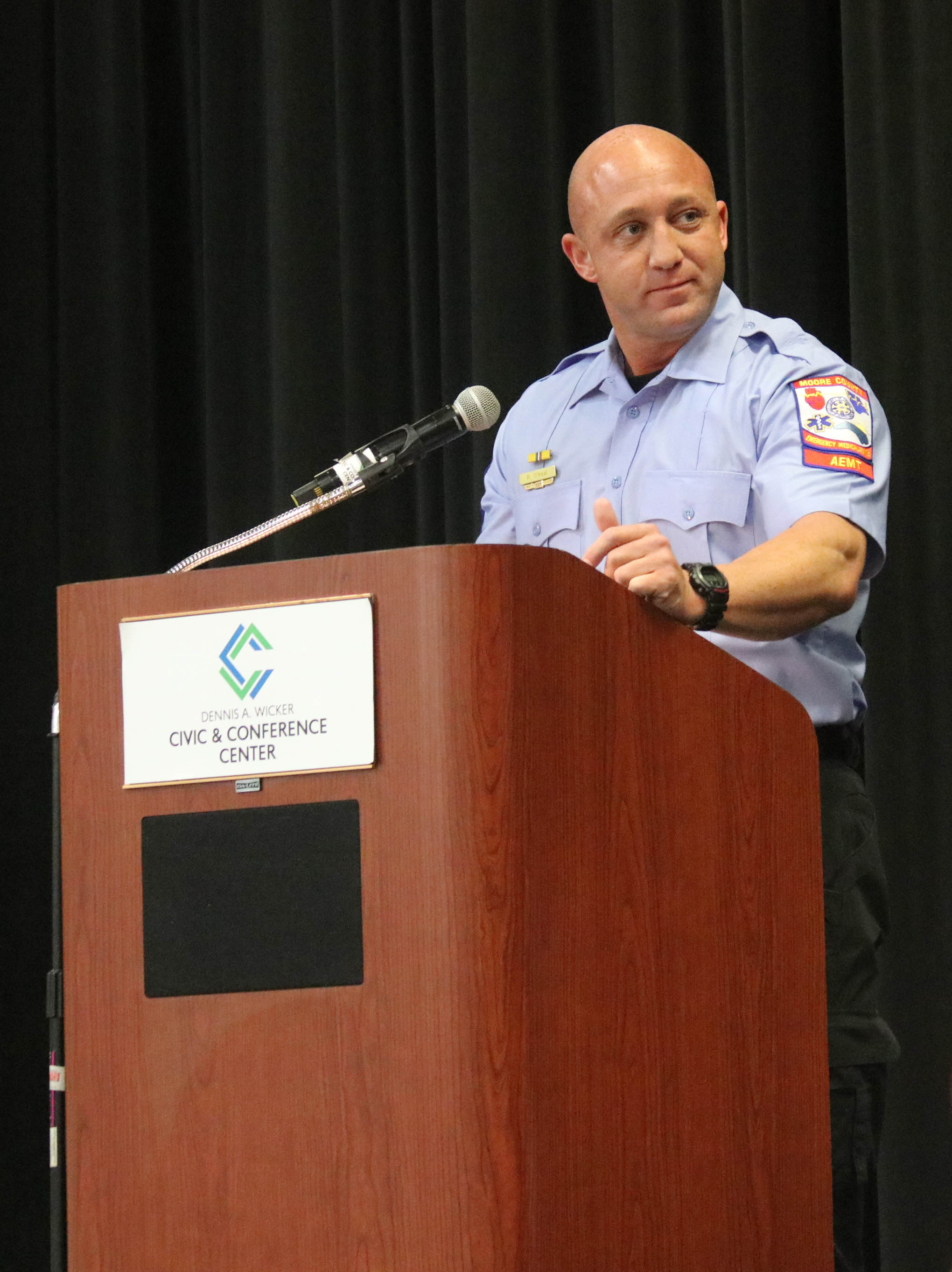 Click to enlarge,  Richard O'Neal was one of the student speakers at the Central Carolina Community College Continuing Education Medical Programs graduation. The event was held Dec. 12 at the Dennis A. Wicker Civic & Conference Center in Sanford.