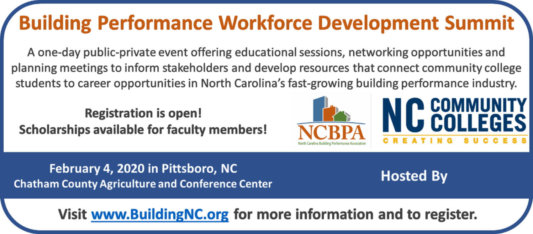 Read the full story, CCCC will host Building Performance Workforce Development Summit