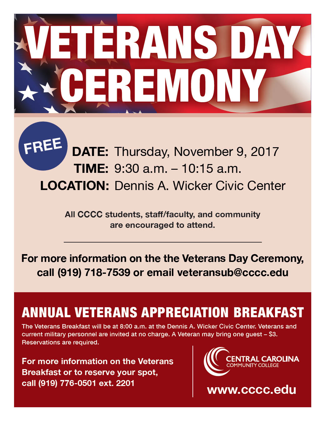 Read the full story, Veterans Day will be observed at CCCC in Sanford